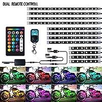 バイク用 LEDテープライト 12本セット RGB 全18色 切り替え 音楽連動 5050-SMD 汎用 イルミネーション 防水IP65 装飾用 ストリップライト IR&RFリモコン付き