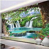 Xbwy 壁画の壁紙モダンな3Dグリーンツリー滝風景壁画リビングルームの家の装飾-120X100Cm