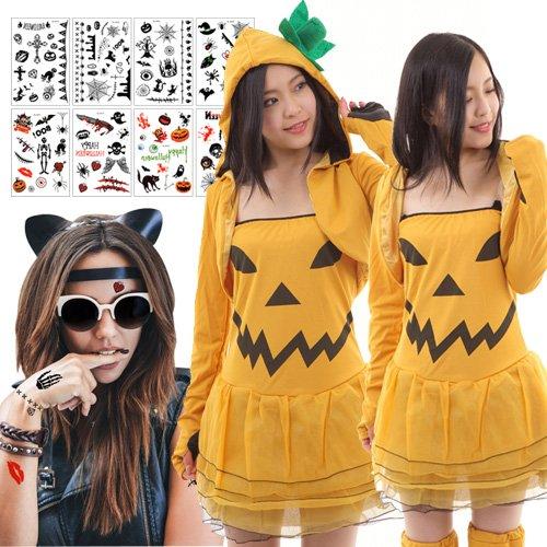 ハロウィン パンプキン ドレス コスプレ ハロウィンタトゥーシール8枚セット かぼちゃ ハロウィン 衣装 コスプレ コスチューム 仮装 レディース 大人 着ぐるみ フリーサイズ