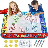 Aquaマジックマット、図面Doodle水マットfor Kids /幼児ペイントカラーリング、Extra Largeサイズ38 x 31インチと4マジックペン、男の子女の子教育玩具のギフトボックス