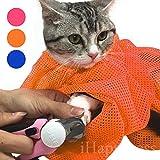 【iHappiness】 猫用 みのむし袋 おちつくネット ねこ用 ネット 猫 シャンプー 爪切り 耳掃除 が楽々 (オレンジ)