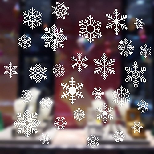 CCINEE 雪花の図案の静電ステッカー ウォールステッカー クリスマスの窓飾り用に 5cm/7.5cm/10cm 白色 48枚セット