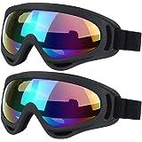 VILISUN スキーゴーグル スノボゴーグル 2個セット オートバイゴーグル 眼鏡 防塵 防風 防雪 サングラス UV400 紫外線カット フレーム柔軟性 目が疲れにくい 登山/スキー/バイク/アウトドアスポーツに全面適用 ジュニアと大人向け 男女兼用
