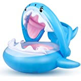 Float Swimming Pool Toddler Floaties with Inflatable Canopy Shark Infant Pool Float for Kids Aged 6-36 Months