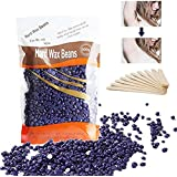 ROSENICE Painless Hair Removal No Strips Depilatory Pearl Hard Wax Bead 300g with 10pcs Wood Stick (Purple)