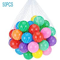 Icerom ソフトピットボール 化学物質不使用 クラッシュプルーフ プラスチックオーシャンボール 幼児ボールピット/キッズプール/インドアベビープレイペン 50個 5.5cm