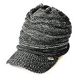 CHARM つば付き ニット帽 [ フリーサイズ/ミックスブラック ] ニットキャスケット 帽子 コットン オールシーズン対応