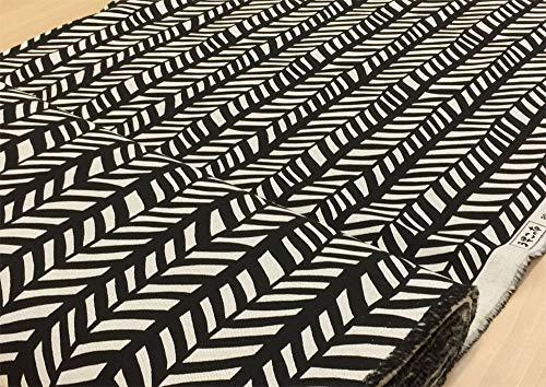 北欧風 生地 綿麻 キャンバス 布【ブラック】アスパラガスリーフ 見方によっては、ヘリンボーン柄にもみえるおしゃれなプリント コットンリネン布地 手芸【1m単位】