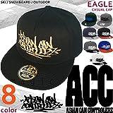ロゴ刺繍 フラット キャップ メンズ レディース フラットバイザー ベースボール 帽子 ACC(エーシーシー) スナップバック ストリート ブランド/ 平らつば おしゃれ かっこいい CAP-EAGLE-A ブラック/ゴールド