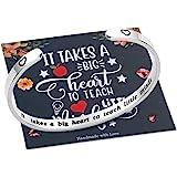M MOOHAM Teacher Appreciation Gifts for Women Bracelet, Engrave Quote Teacher Bracelet Jewelry Teacher Appreciation Week End