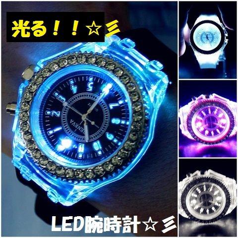 『Geneva レインボーLED腕時計 ブラック』の2枚目の画像