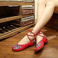 Wunes(TM) ブランドファッション古い北京の蝶刺繍女性の靴中国風フラッツジェーンズカジュアルサイズ34-41柔らかいソールダンスシューズ[8.5?赤]
