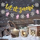Let it 雪の旗 クリスマス 雪の結晶 ガーランド 雪だるま テーマ 誕生日パーティー用品 グリッター 冬 ワンダーランド ベビーシャワー 写真 小道具 デコレーション