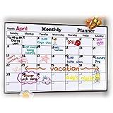 Rabbitgoo Dry Erase Monthly Calendar 2021-2022 Fridge Magnetic Calendar 43 x 30 cm Whiteboard Organizer, Refrigerator Marker