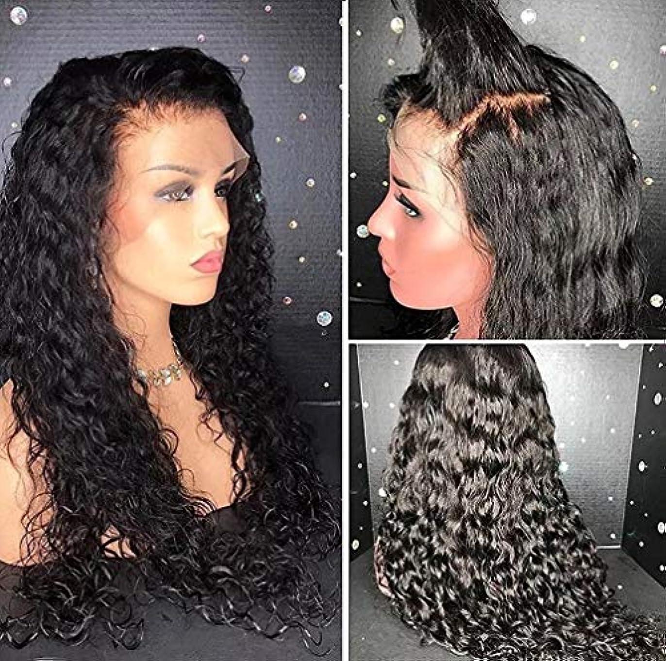 みがきます勇気低下女性のかつらフロントレースブラジルボディ波赤ちゃんの髪の未処理の人間の髪の毛150%完全密度ブラック22インチ