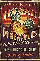 ハワイアンパイナップルVintage Sign 12 x 18 Signed Art Print LANT-34142-708