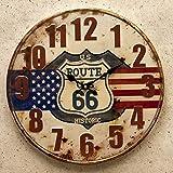 アメリカン ビンテージ風 40cm カフェ クロック US Route66 ルート66 星条旗 掛け時計 時計 グッズ アメリカ 雑貨 レトロ アンティーク ヴィンテージ風 掛時計 世田谷ベース アメリカン雑貨 アメリカ 国旗