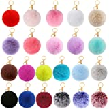 Auihiay 22 Pieces Pom Poms Keychains Faux Rabbit Fur Pompoms Keyring Fluffy Pompoms Keychain