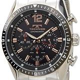 [テクノス]TECHNOS T1019TH クロノグラフ クォーツ ブラック×シルバー メンズ腕時計