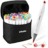 Ohuhu 72 Colors Alcohol Markers, Brush & Chisel Double Tipped Sketch Marker For Kids, Artist, Alcohol Brush Art Marker Set Bo