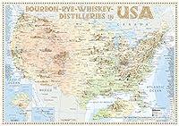 Bourbon-Rye-Whiskey Distilleries in USA - Tasting Map 34x24cm: The Whiskylandscape in Overview - Massstab 1 : 5.000.000