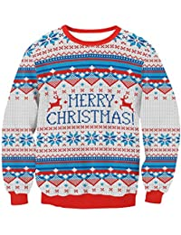 Zhuhaitf クリスマスのファッション レディース Ugly Christmas Sweater Print Pullover Shirt Womens Tops Long Sleeve for Ladies' Fashion