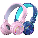 iClever BTH03 2pack Kids Headphones Bluetooth - Colorful Lights Headphones for Kids with MIC, Volume Control Foldable - Child