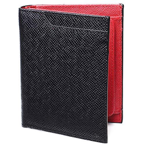 5232fe4a5991 LYKKERAS 財布 二つ折り財布 ボックス型 小銭入れ付き 薄型 ICカード収納付 (