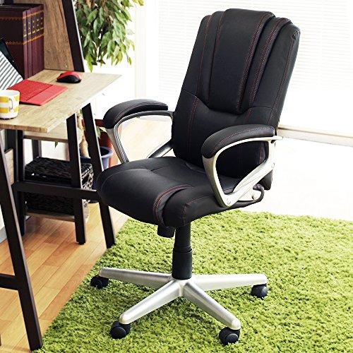 OFFICE Creator ロッキング機能付きオフィスチェア コンパクトPUチェア (ブラック)