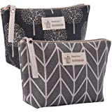 Kimoli 2 Pcs Womens and Girls Funny Canvas Makeup Bag Roomy Cosmetic Bag Pouch Purse Handbag with Zipper (Style-5)