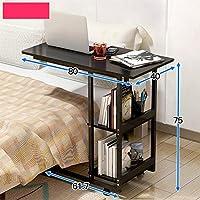 ベッドサイドテーブル怠惰なノートブックコンピュータのデスクそれは家庭のベッドルームを移動することができますシンプルなデスク多機能本棚ベッドの使用ホイールテーブル (色 : B)