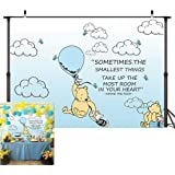 Wininie The Pooh Photography Background Light Blue Hot Air Kids Baby Shower Birthday Party Backdrops White Clounds Butterfly