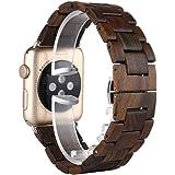 Sakula Apple Watch バンド 木製 黒檀木 交換ベルト アップルウォッチ ベルト Apple Watch Series 6 Series SE Series 5 対応 バンド 42mm/44mm(黒檀木)