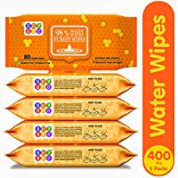 Bey Bee Paraben Free Hypoallergenic Baby Water Wipes For New Born Babies 5 Packs 400 Pcs With Lid/Fliptop