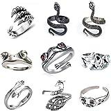 SUNNYOUTH 9/11/13 Pcs Vintage Frog Open Rings Set Knuckle Stacking Ring Snake Ring Boho Finger Rings for Women Men Girls