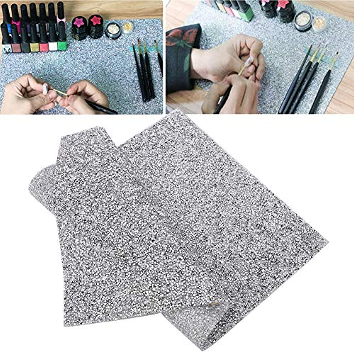 回答エンドウ変形Rotektマニキュアマット再利用可能テーブルパッド付きネイルアート美容アクセサリー2色(01)
