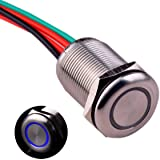 "Ulincos Touch Switch UT19T1 Stepless Dimming Switch DC 6V to 24V Blue LED Suitable for 19mm 3/4"" Mounting Hole"