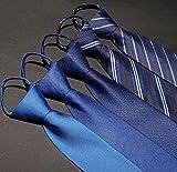 【加貝】ビジネス紳士用ネクタイ5本セット 装着簡単 ワンタッチ 洗える ストライプ ファスナー