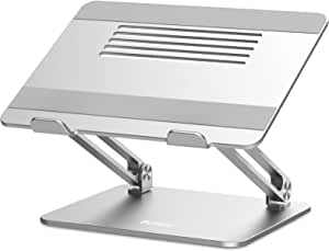 BoYata ノートパソコンスタンド PCスタンド タブレットスタンド 人間工学設計 無段階高さ調整可能 姿勢改善 腰痛/猫背解消 折りたたみ式 滑り止め アルミ合金製 優れた放熱性 軽量 Macbook Air/Macbook Pro/iPad Pro/Notebooksなど17インチまでに対応