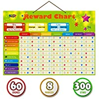 Magnetic Reward Behavior Star Chore Chart for One or Multiple Kids Includes 8 Markers + 60 Foam Backing Illustrated Chores + 300 Stars in Red Yellow Blue. X- Large 17X12 inch. Hanging Loop READY! 【You&Me】 [並行輸入品]