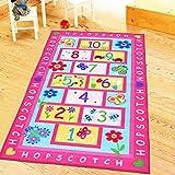 HUAHOO Pink Girls Rug Pink Kids Rug hopscotch Rug Children's Rugs Baby Nursery Rugs Kids Rugs Carpet Girls Bedroom Playroom P