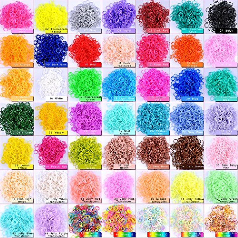 Kirinstores (キリンストア) ® 1800 本 クリップ 72 個 ゴムバンド リフィル Loom Rainbow Refill Bands Bracelets Dress Making (ルーム レインボー ブレスレット ドレス メーキング)  各 600 本 3色
