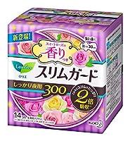 花王 ロリエ スリムガード スイートローズの香り しっかり夜用 羽つき 30cm 14個入 × 4個セット