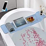 (新包装)伸縮 バスタブトレー 滑り止め付 バスタブ ラック約W78XD17.5XH5cm 浴室用ラック バステーブル バスラック 大容量 お風呂用品 (ブルー)