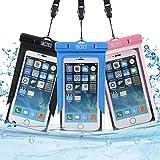 UKCOCO 防水ケース(3枚セット) 携帯ケース 砂浜 水遊びなど用防水携帯ケース フォンケース・カバー 5.7インチ以下全機種対応 ネックストラップ付属 IPX8認定