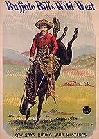 バッファロー・ビル–Cow Boys Riding Wild MustangsヴィンテージポスターUSA C。1885 9 x 12 Art Print LANT-59151-9x12