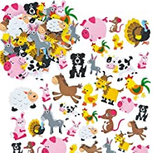 Farm Animal Foam Stickers for Children to Make Decorate and Personalize Countryside Collages Arts and Crafts (Pack of 96)