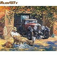 Klaxiaz(TM) ホームの壁アートの装飾のために描かれた数字アクリルペイントヴィンテージ絵画手で車のキャンバス絵DIYの絵画をリラックス [40CMx50CM額装 ]
