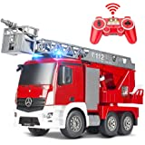 DOUBLE E RC Fire Truck Remote Control Fire Engine 10 Channel with Water Pump Lights Sounds Extendable Ladder Rechargeable Bat