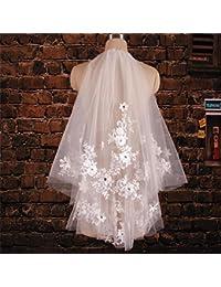 シュウクラブ- 韓国スタイルのレトロダイヤモンドレースの花美しい短い毛糸の花嫁のウェディングドレス短い糸